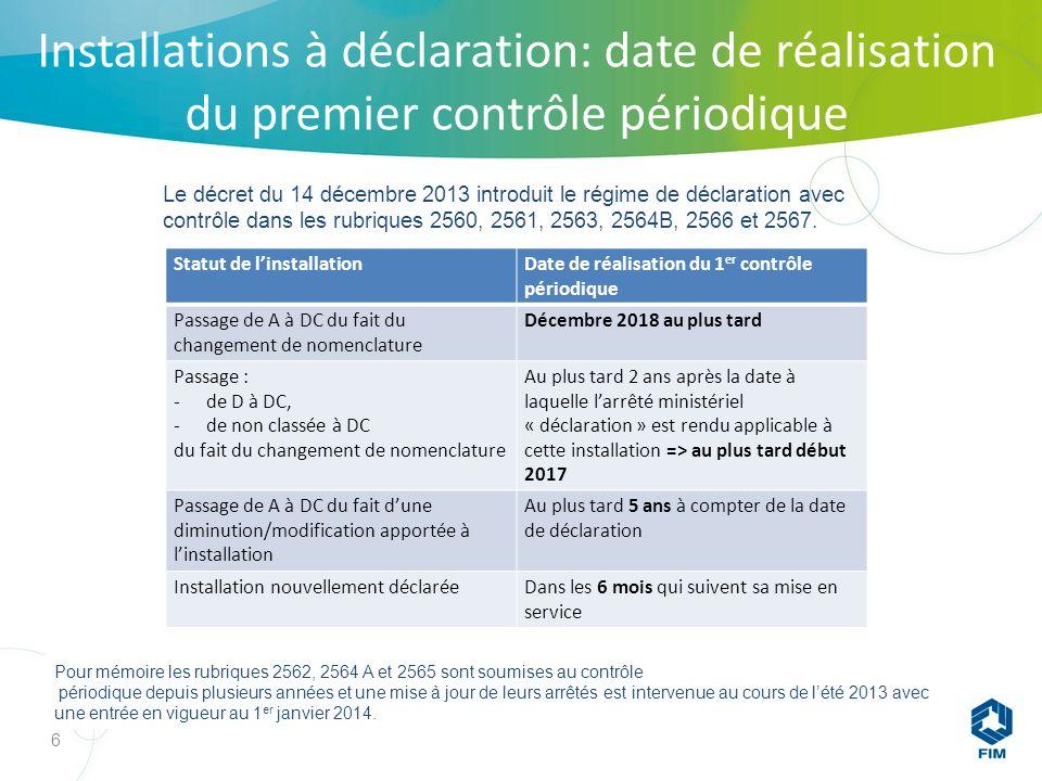 6 Le décret du 14 décembre 2013 introduit le régime de déclaration avec contrôle dans les rubriques 2560, 2561, 2563, 2564B, 2566 et 2567.