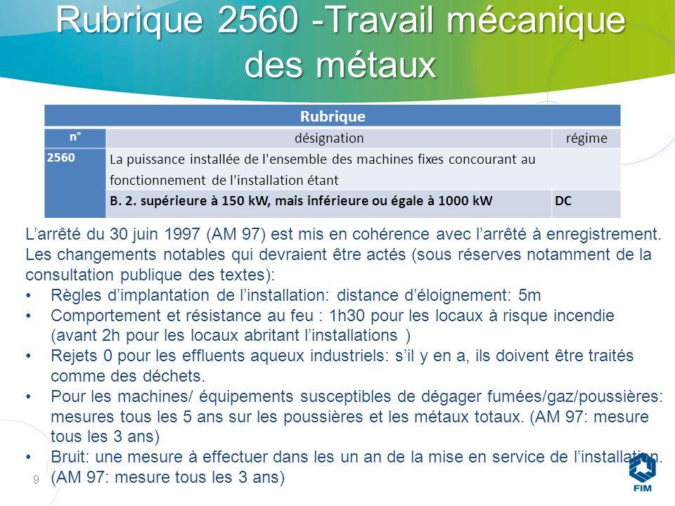 Rubrique 2560 -Travail mécanique des métaux 9 Rubrique n° désignationrégime 2560 La puissance installée de l ensemble des machines fixes concourant au fonctionnement de l installation étant B.