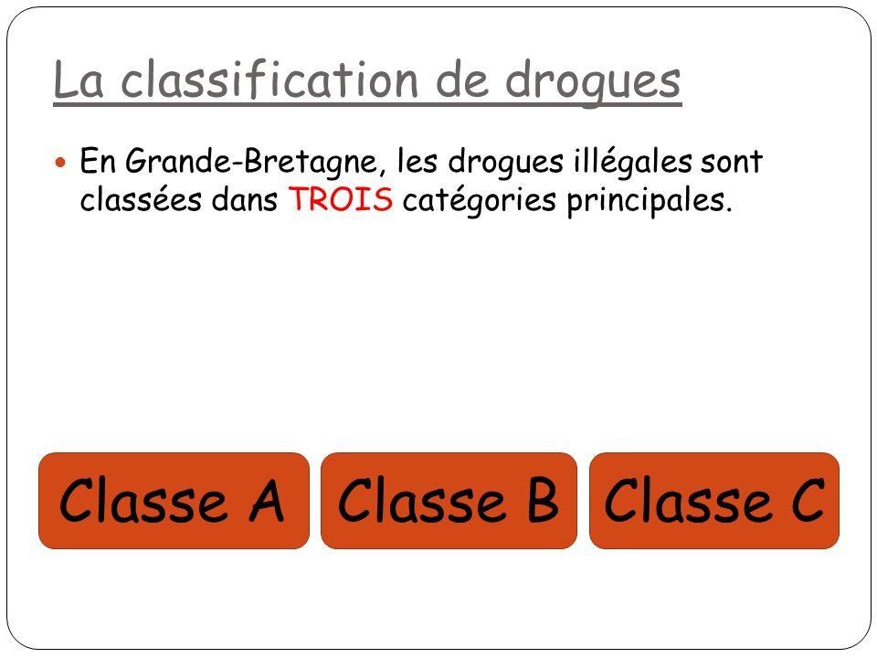 La classification de drogues En Grande-Bretagne, les drogues illégales sont classées dans TROIS catégories principales. Classe AClasse CClasse B