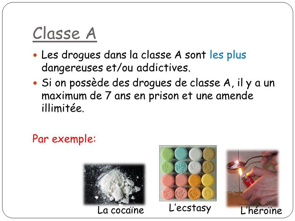 Classe B Les drogues dans la classe B sont moins nocives que dans la classe A (mais sont quand même nocives).