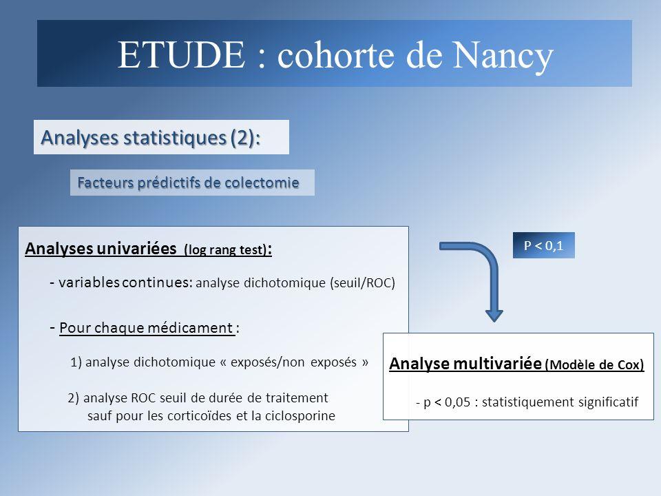 Analyses statistiques (2): ETUDE : cohorte de Nancy Facteurs prédictifs de colectomie Analyses univariées (log rang test) : - variables continues: ana