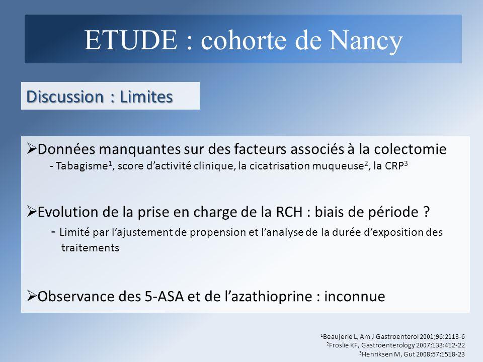 Discussion : Limites Données manquantes sur des facteurs associés à la colectomie - Tabagisme 1, score dactivité clinique, la cicatrisation muqueuse 2