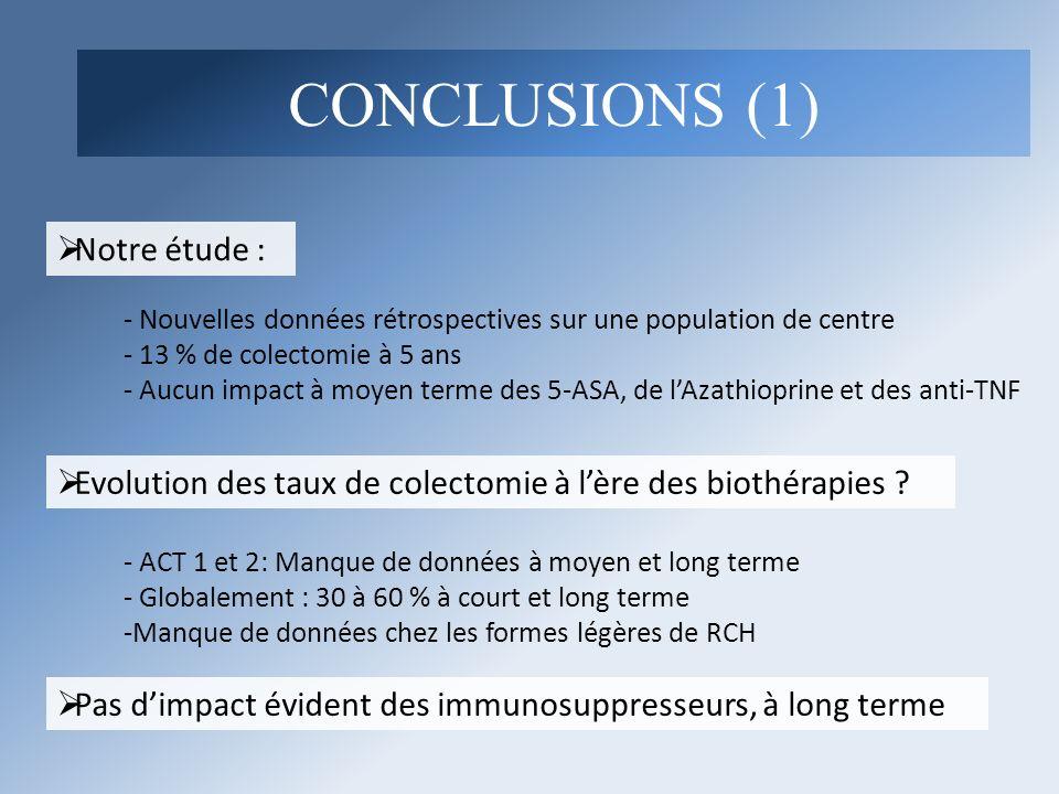 Notre étude : - Nouvelles données rétrospectives sur une population de centre - 13 % de colectomie à 5 ans - Aucun impact à moyen terme des 5-ASA, de