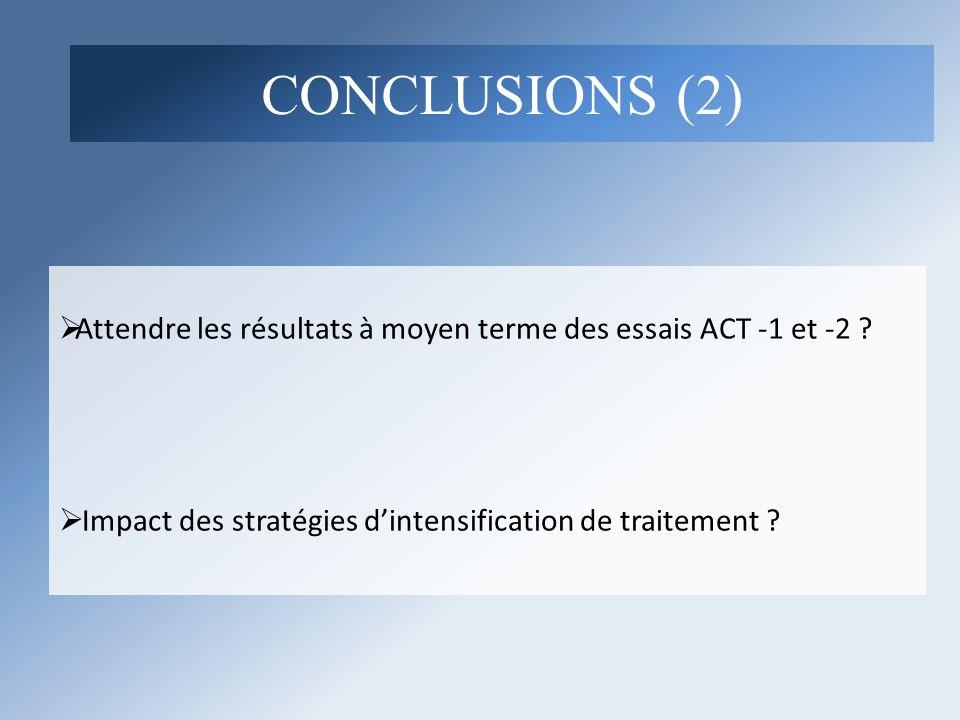 Attendre les résultats à moyen terme des essais ACT -1 et -2 ? Impact des stratégies dintensification de traitement ? CONCLUSIONS (2)