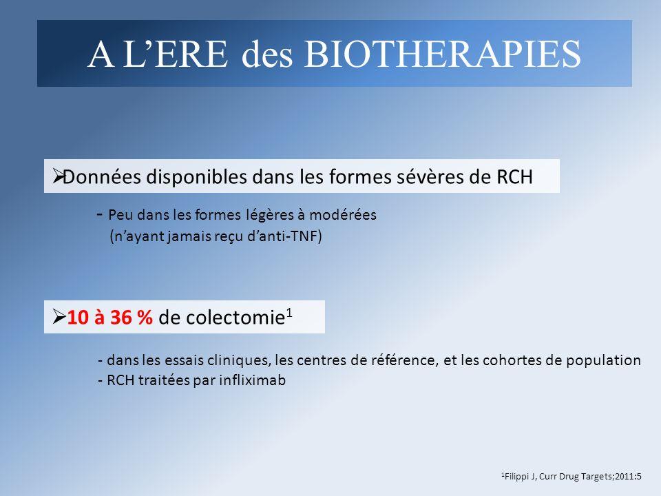 - dans les essais cliniques, les centres de référence, et les cohortes de population - RCH traitées par infliximab Données disponibles dans les formes