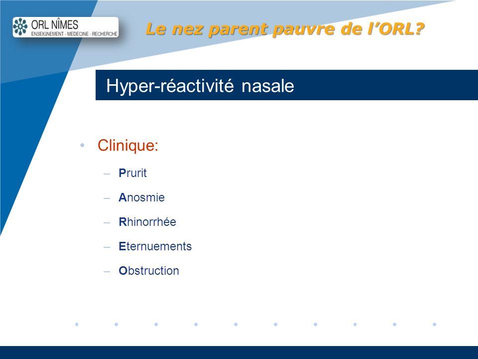 Company LOGO www.company.com Hyper-réactivité nasale Le nez parent pauvre de lORL? Clinique: –Prurit –Anosmie –Rhinorrhée –Eternuements –Obstruction