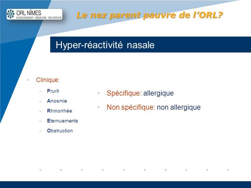 Company LOGO www.company.com Hyper-réactivité nasale Le nez parent pauvre de lORL? Clinique: –Prurit –Anosmie –Rhinorrhée –Eternuements –Obstruction S