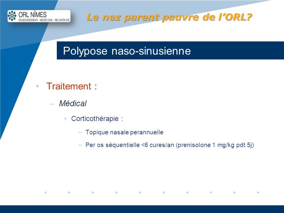 Company LOGO www.company.com Polypose naso-sinusienne Le nez parent pauvre de lORL? Traitement : –Médical Corticothérapie : –Topique nasale perannuell