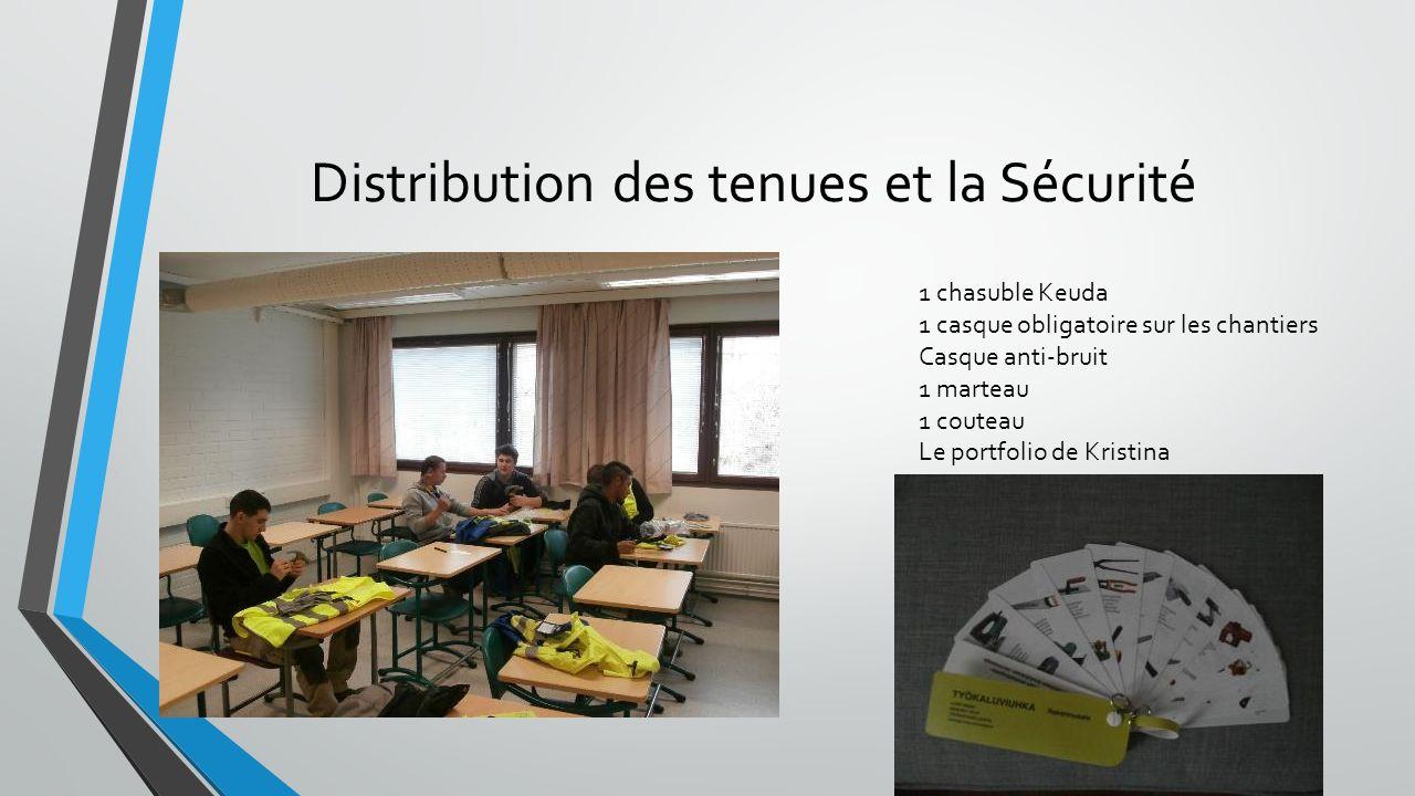Distribution des tenues et la Sécurité 1 chasuble Keuda 1 casque obligatoire sur les chantiers Casque anti-bruit 1 marteau 1 couteau Le portfolio de K