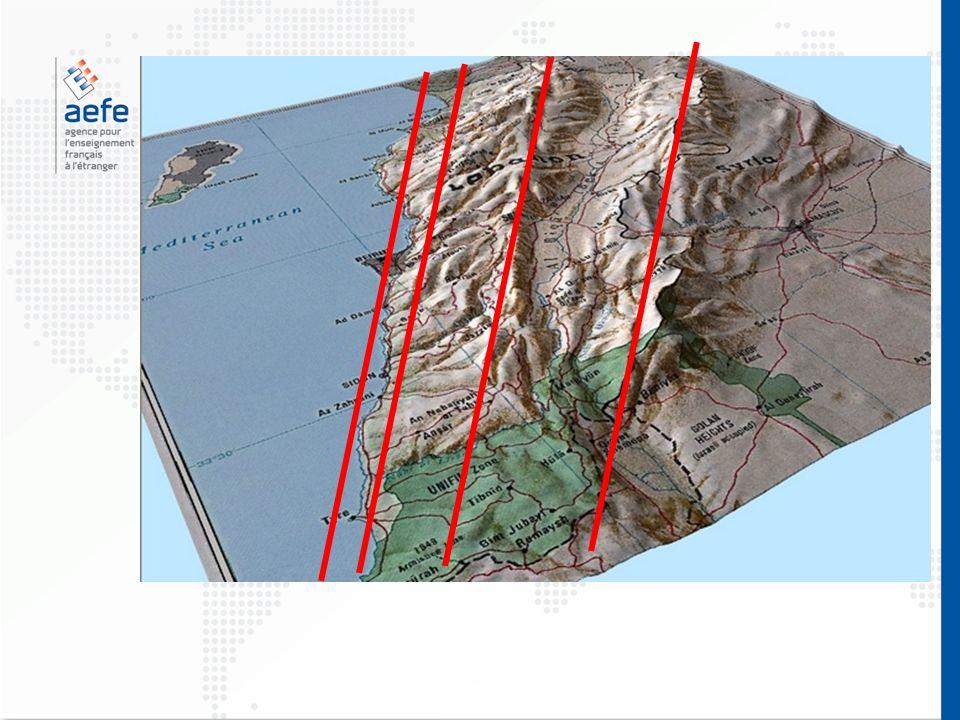 Mer Méditerranée Plaine littorale urbanisée Mont Liban Plaine de la Bekaa Anti-Liban