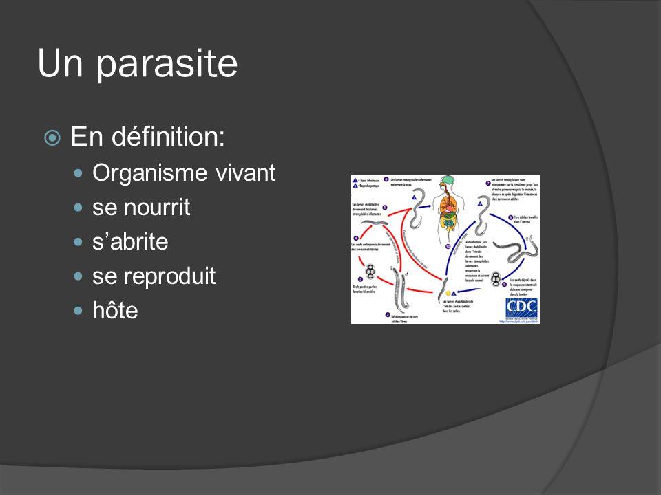 Un parasite En définition: Organisme vivant se nourrit sabrite se reproduit hôte