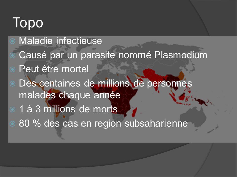 Topo Maladie infectieuse Causé par un parasite nommé Plasmodium Peut être mortel Des centaines de millions de personnes malades chaque année 1 à 3 millions de morts 80 % des cas en region subsaharienne