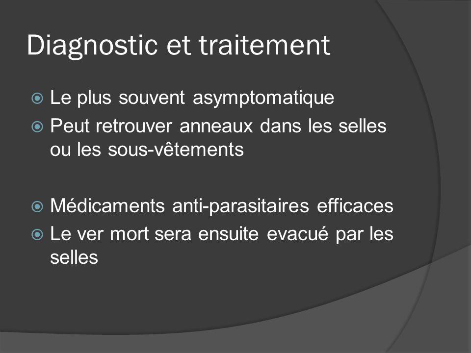 Diagnostic et traitement Le plus souvent asymptomatique Peut retrouver anneaux dans les selles ou les sous-vêtements Médicaments anti-parasitaires eff