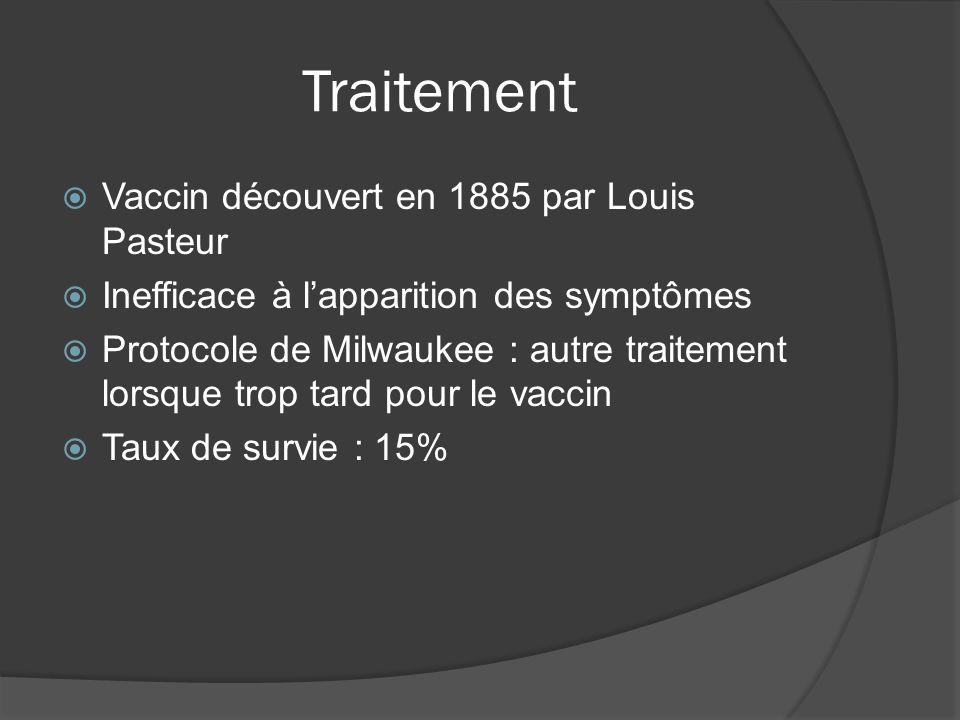 Traitement Vaccin découvert en 1885 par Louis Pasteur Inefficace à lapparition des symptômes Protocole de Milwaukee : autre traitement lorsque trop tard pour le vaccin Taux de survie : 15%