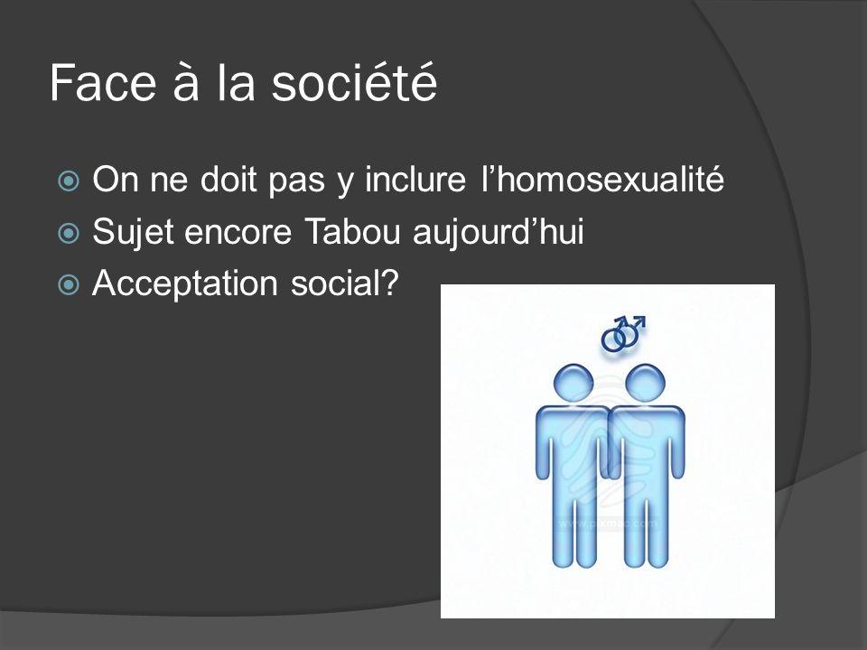Face à la société On ne doit pas y inclure lhomosexualité Sujet encore Tabou aujourdhui Acceptation social?