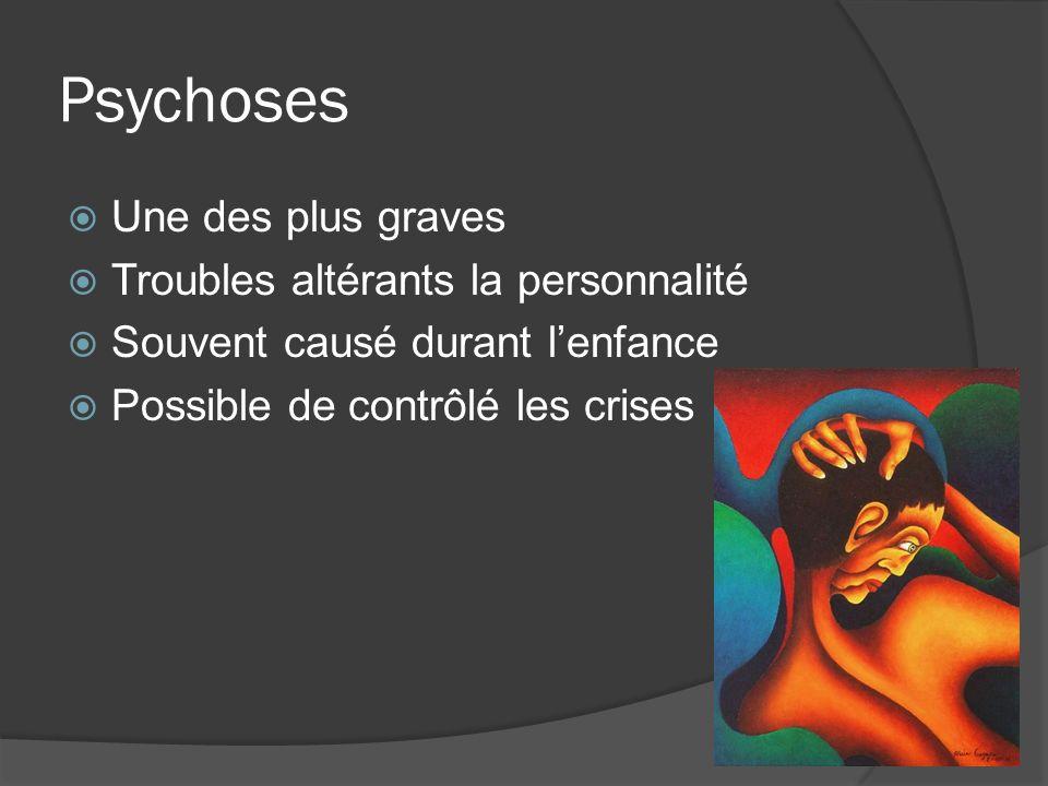 Psychoses Une des plus graves Troubles altérants la personnalité Souvent causé durant lenfance Possible de contrôlé les crises