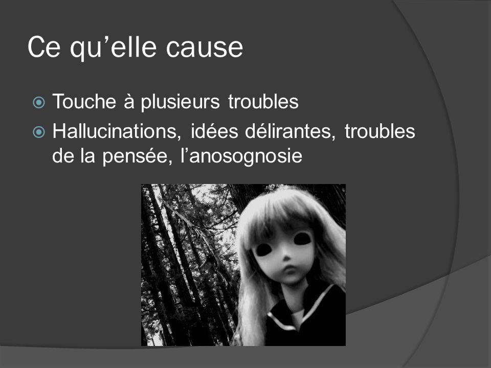 Ce quelle cause Touche à plusieurs troubles Hallucinations, idées délirantes, troubles de la pensée, lanosognosie