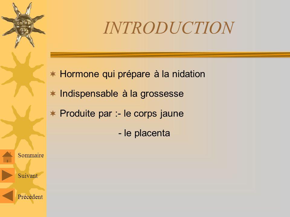 INTRODUCTION Hormone qui prépare à la nidation Indispensable à la grossesse Produite par :- le corps jaune - le placenta Sommaire Suivant Précédent