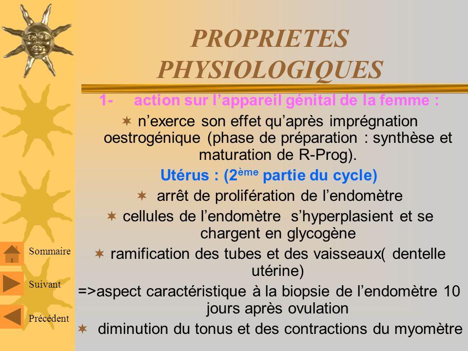 PROPRIETES PHYSIOLOGIQUES 1- action sur lappareil génital de la femme : nexerce son effet quaprès imprégnation oestrogénique (phase de préparation : synthèse et maturation de R-Prog).