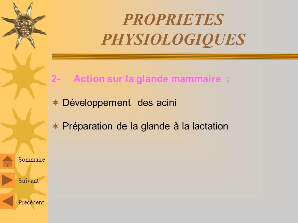 PROPRIETES PHYSIOLOGIQUES 2- Action sur la glande mammaire : Développement des acini Préparation de la glande à la lactation Sommaire Suivant Précédent