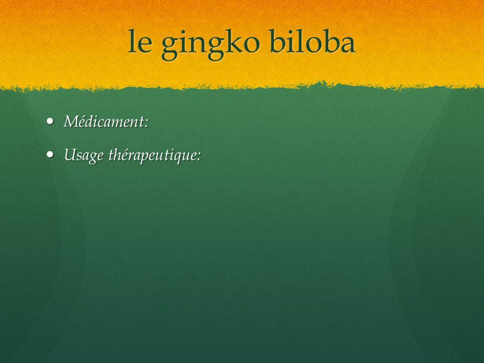 le gingko biloba Médicament: Médicament: Usage thérapeutique: Usage thérapeutique: