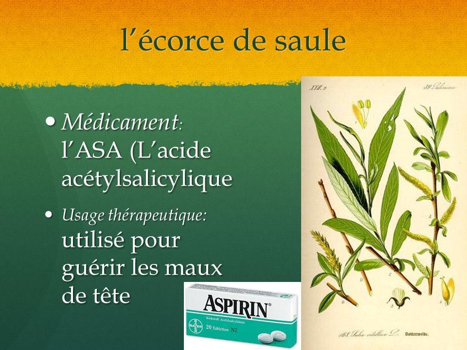 lécorce de saule Médicament : lASA (Lacide acétylsalicylique Médicament : lASA (Lacide acétylsalicylique Usage thérapeutique: utilisé pour guérir les