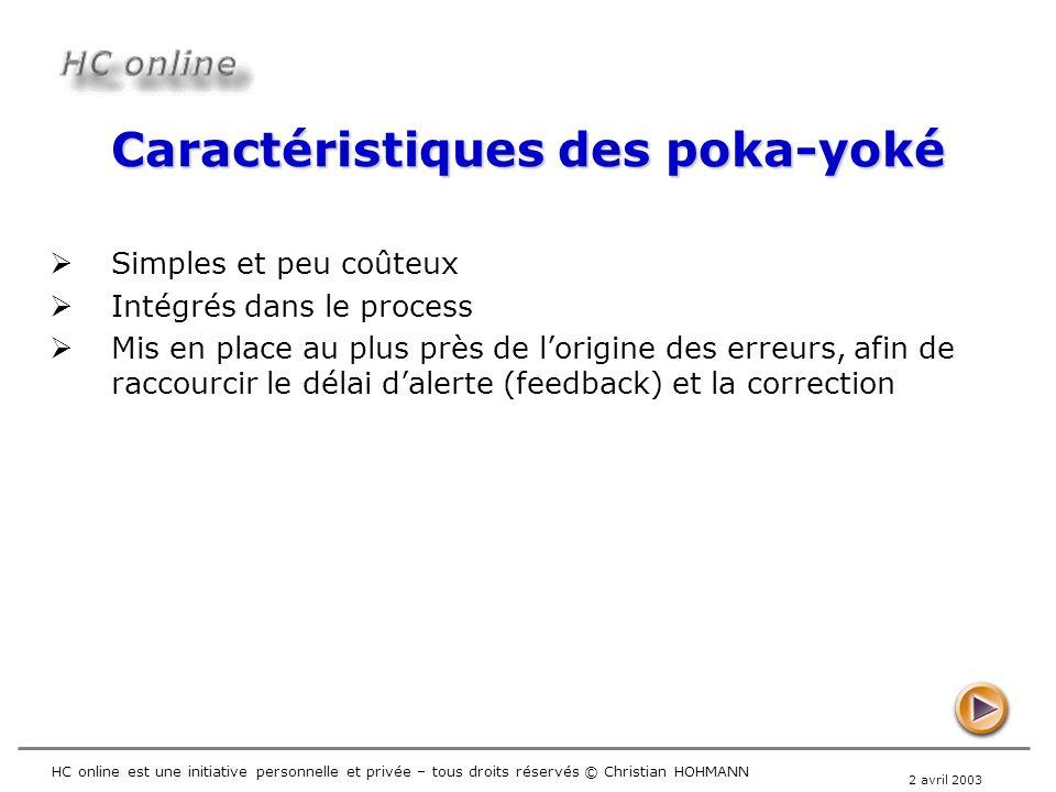 2 avril 2003 HC online est une initiative personnelle et privée – tous droits réservés © Christian HOHMANN Caractéristiques des poka-yoké Simples et p