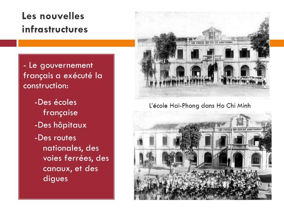 Les nouvelles infrastructures - Le gouvernement français a exécuté la construction: -Des écoles française -Des hôpitaux -Des routes nationales, des voies ferrées, des canaux, et des digues Lécole Hai-Phong dans Ho Chi Minh