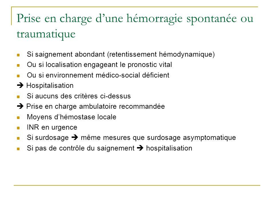 Prise en charge dune hémorragie spontanée ou traumatique Si saignement abondant (retentissement hémodynamique) Ou si localisation engageant le pronost