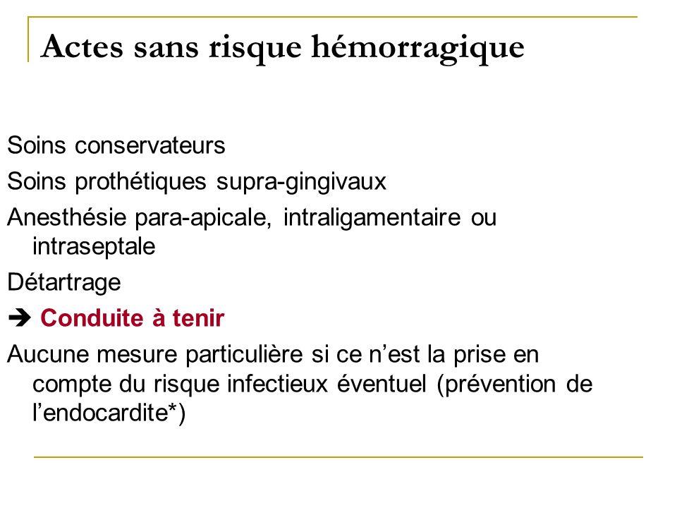 Actes sans risque hémorragique Soins conservateurs Soins prothétiques supra-gingivaux Anesthésie para-apicale, intraligamentaire ou intraseptale Détar
