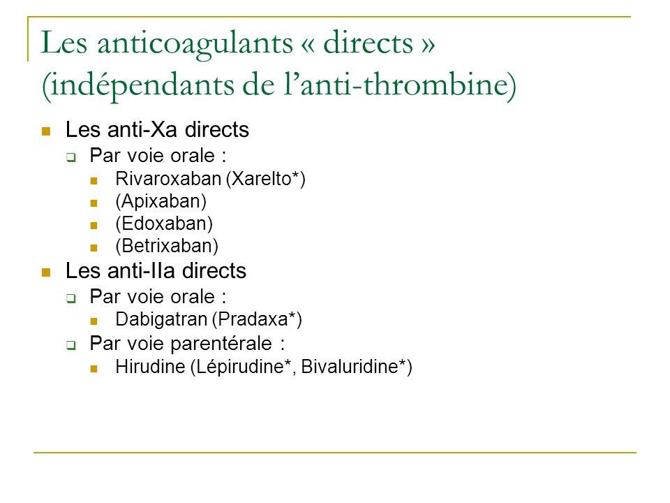 Les anticoagulants « directs » (indépendants de lanti-thrombine) Les anti-Xa directs Par voie orale : Rivaroxaban (Xarelto*) (Apixaban) (Edoxaban) (Be