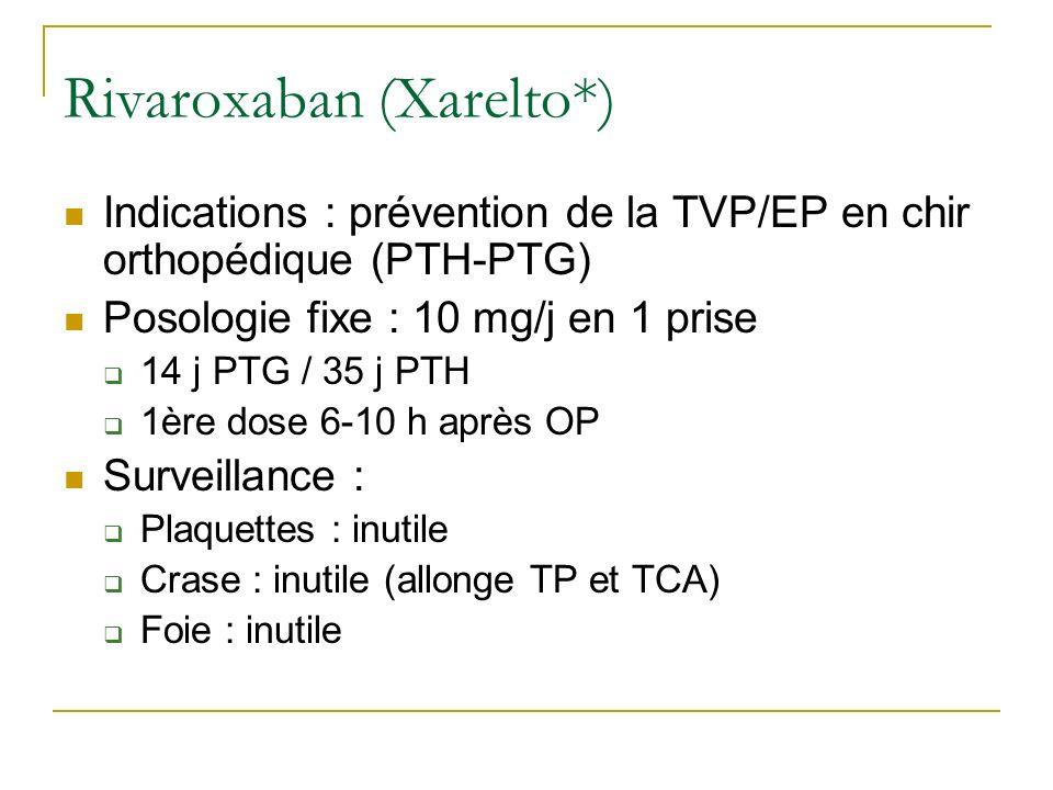 Rivaroxaban (Xarelto*) Indications : prévention de la TVP/EP en chir orthopédique (PTH-PTG) Posologie fixe : 10 mg/j en 1 prise 14 j PTG / 35 j PTH 1è