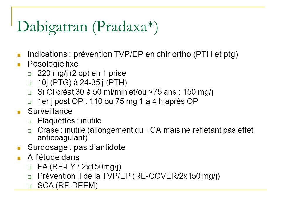 Dabigatran (Pradaxa*) Indications : prévention TVP/EP en chir ortho (PTH et ptg) Posologie fixe 220 mg/j (2 cp) en 1 prise 10j (PTG) à 24-35 j (PTH) S