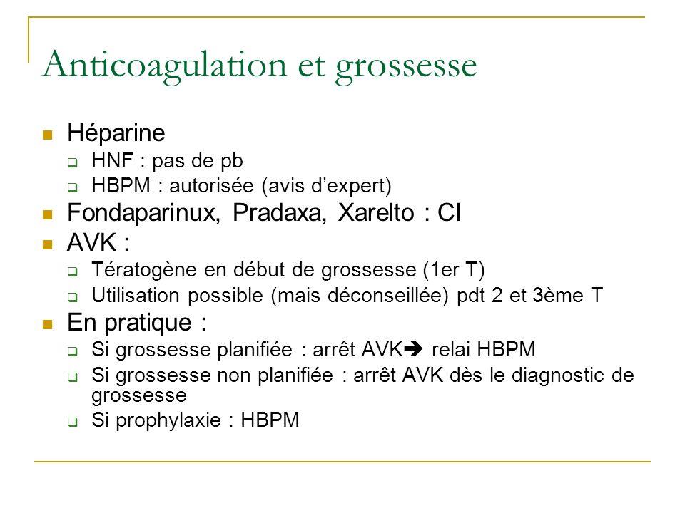 Anticoagulation et grossesse Héparine HNF : pas de pb HBPM : autorisée (avis dexpert) Fondaparinux, Pradaxa, Xarelto : CI AVK : Tératogène en début de