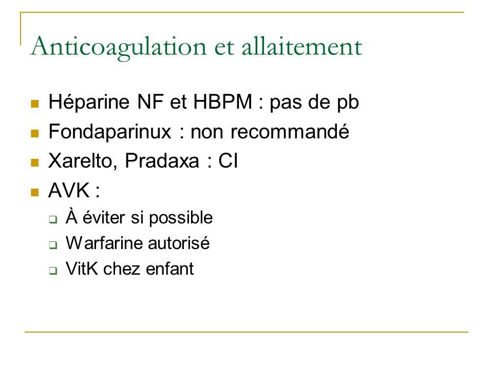 Anticoagulation et allaitement Héparine NF et HBPM : pas de pb Fondaparinux : non recommandé Xarelto, Pradaxa : CI AVK : À éviter si possible Warfarin
