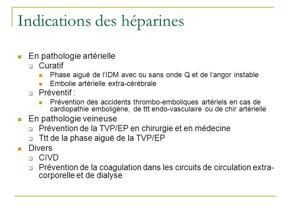 Indications des héparines En pathologie artérielle Curatif Phase aiguë de lIDM avec ou sans onde Q et de langor instable Embolie artérielle extra-céré