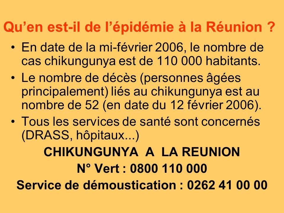 En date de la mi-février 2006, le nombre de cas chikungunya est de 110 000 habitants.