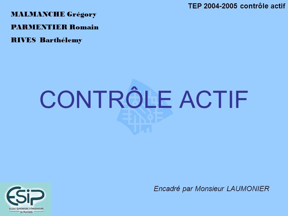 TEP 2004-2005 contrôle actif MALMANCHE Grégory PARMENTIER Romain RIVESBarthélemy CONTRÔLE ACTIF Encadré par Monsieur LAUMONIER