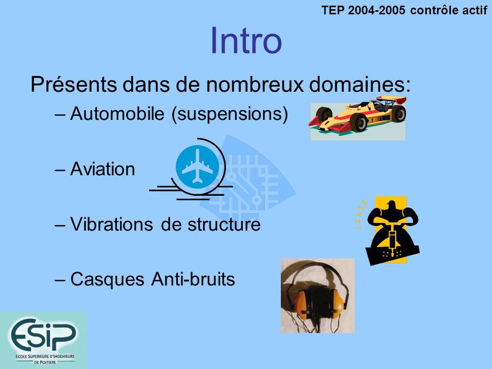 TEP 2004-2005 contrôle actif Lantibruit Actif Principe Systèmes passifs Parois isolantes Ne sélectionne pas le bruit à atténuer Problème de sécurité Systèmes actifs Ondes destructives Sélectionne le bruit à atténuer