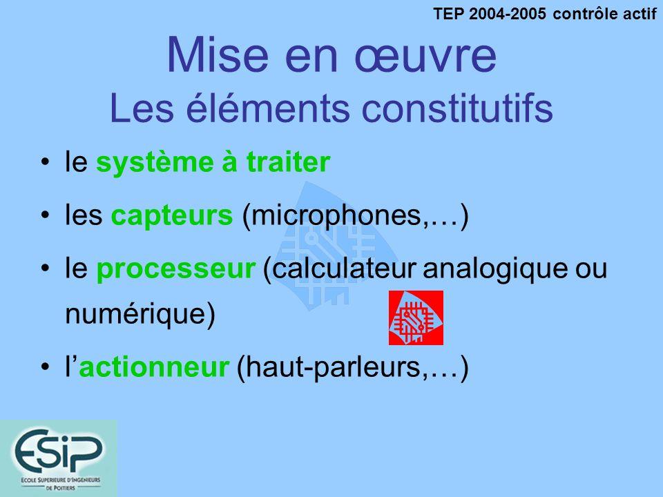 TEP 2004-2005 contrôle actif Mise en œuvre Les éléments constitutifs