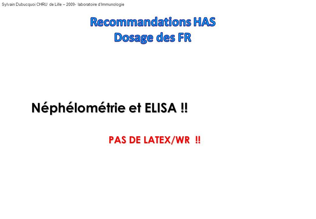 Sylvain Dubucquoi CHRU de Lille – 2009- laboratoire dImmunologie Latex -WRLatex Néphélométrie ELISA Anti-CCP 55%/93 % 32-38 %/ 90% 65%/ 87% 50-66 %/ 8