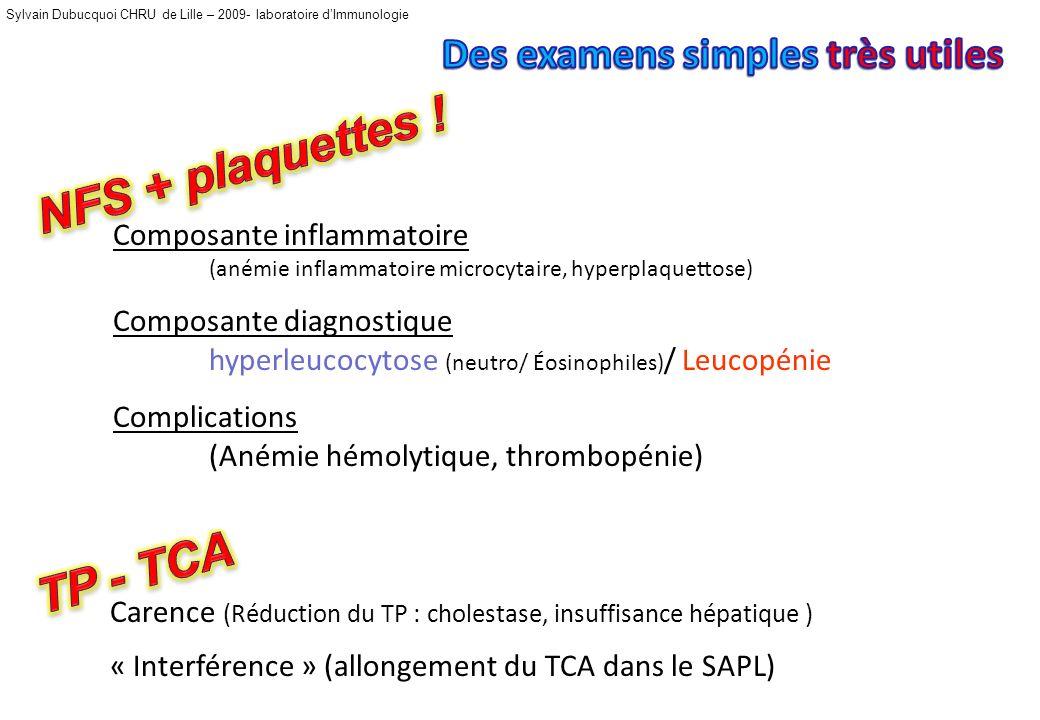 Sylvain Dubucquoi CHRU de Lille – 2009- laboratoire dImmunologie Composante inflammatoire (anémie inflammatoire microcytaire, hyperplaquettose) Composante diagnostique hyperleucocytose (neutro/ Éosinophiles) / Leucopénie Complications (Anémie hémolytique, thrombopénie) Carence (Réduction du TP : cholestase, insuffisance hépatique ) « Interférence » (allongement du TCA dans le SAPL)