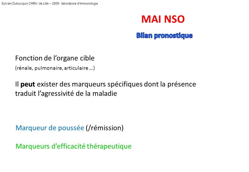 Sylvain Dubucquoi CHRU de Lille – 2009- laboratoire dImmunologie MAI NSO Fonction rénale Altération glomérulaire (protéinurie/ hématurie) Fonction hép