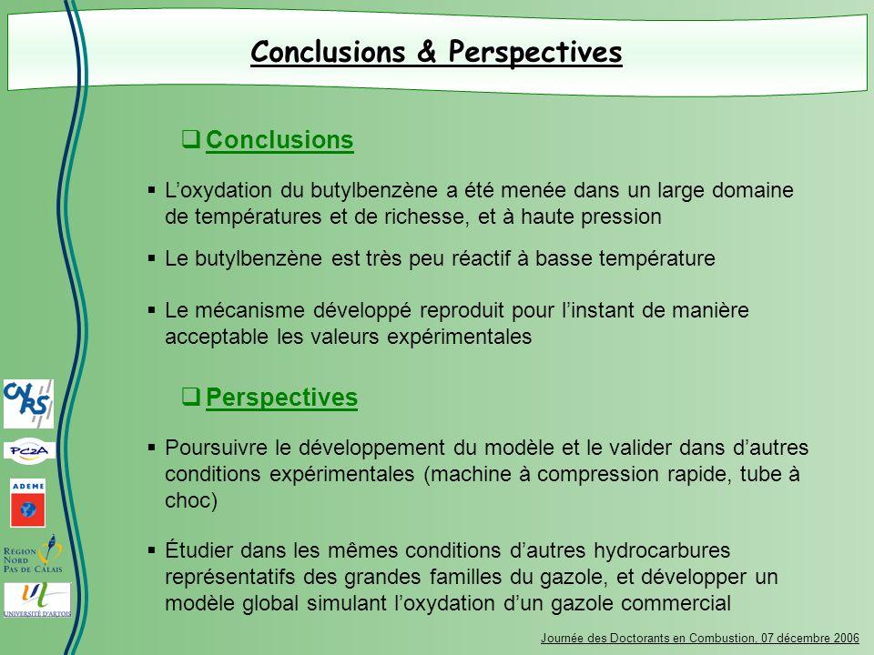 Conclusions & Perspectives Journée des Doctorants en Combustion, 07 décembre 2006 Loxydation du butylbenzène a été menée dans un large domaine de temp