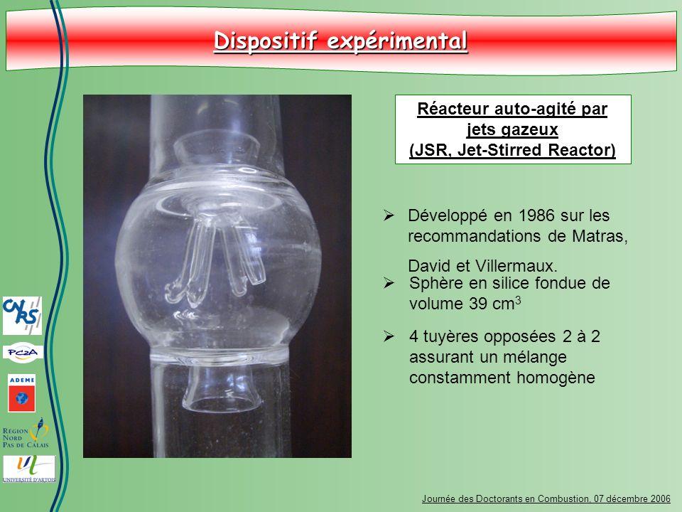 Dispositif expérimental Journée des Doctorants en Combustion, 07 décembre 2006 Développé en 1986 sur les recommandations de Matras, David et Villermau