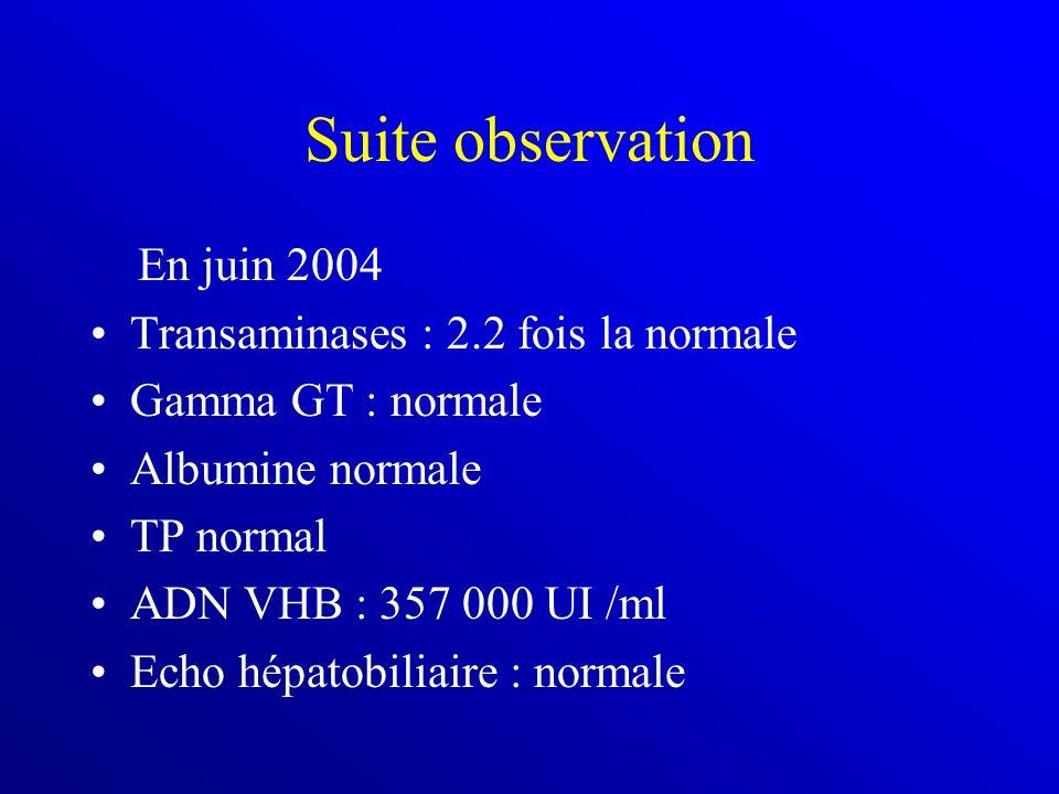 Suite observation En juin 2004 Transaminases : 2.2 fois la normale Gamma GT : normale Albumine normale TP normal ADN VHB : 357 000 UI /ml Echo hépatob
