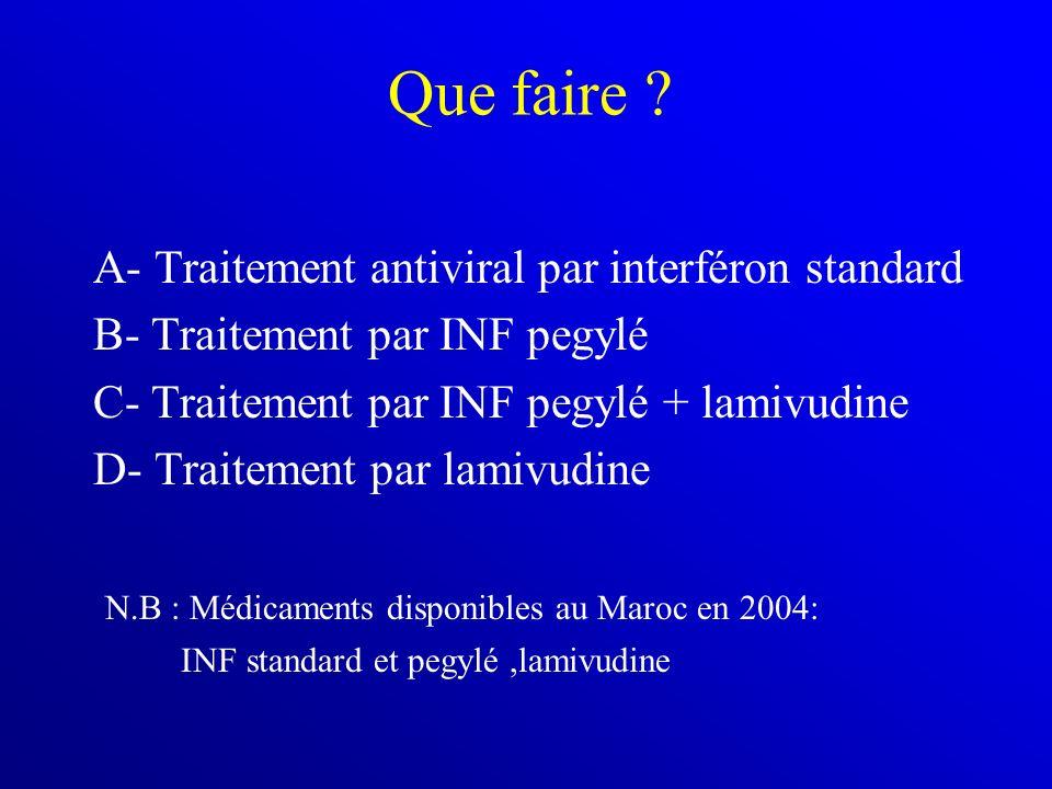 Que faire ? A- Traitement antiviral par interféron standard B- Traitement par INF pegylé C- Traitement par INF pegylé + lamivudine D- Traitement par l