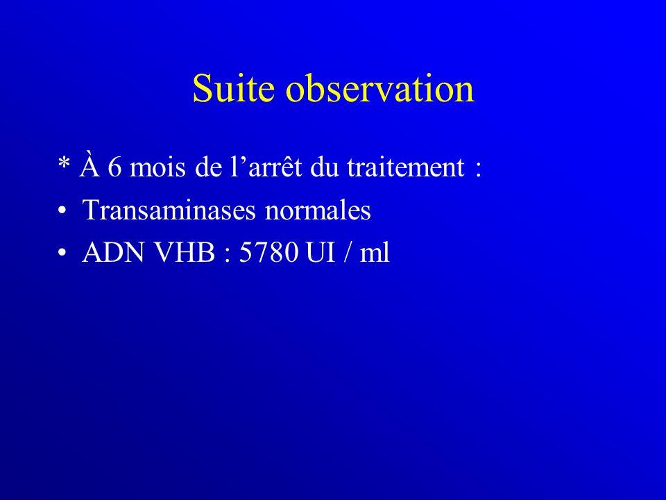 Suite observation * À 6 mois de larrêt du traitement : Transaminases normales ADN VHB : 5780 UI / ml