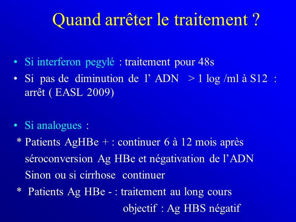 Quand arrêter le traitement ? Si interferon pegylé : traitement pour 48s Si pas de diminution de l ADN > 1 log /ml à S12 : arrêt ( EASL 2009) Si analo