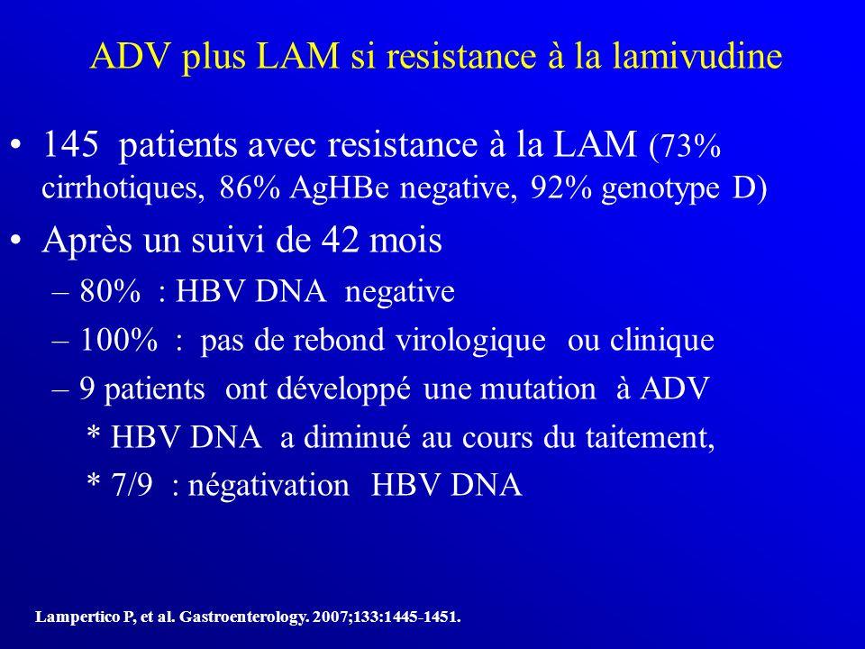 ADV plus LAM si resistance à la lamivudine 145 patients avec resistance à la LAM (73% cirrhotiques, 86% AgHBe negative, 92% genotype D) Après un suivi